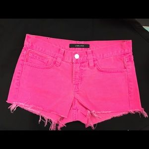 J Brand Hot Pink Distressed Shorts Size 25